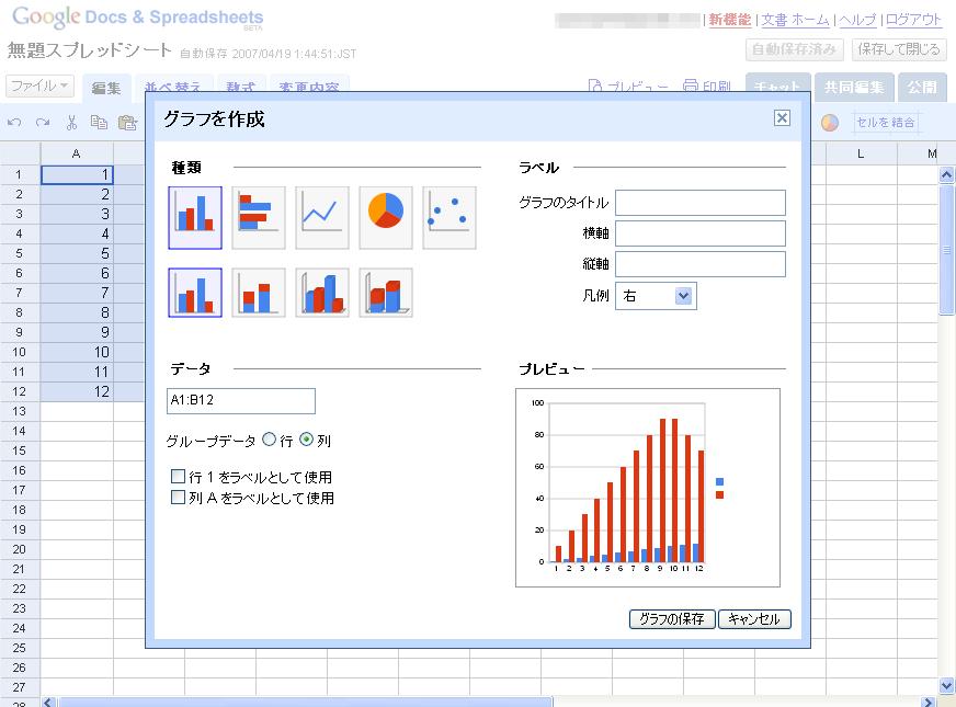 Googleスプレッドシートグラフダイアログ